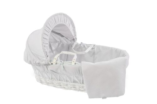 Wicker Moses Basket in White - Cotton Dream Grey
